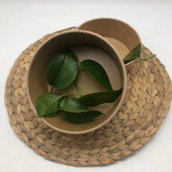 Bio- ciotola di carta a gettare rotonda della minestra di riso dell'insalata del contenitore di alimento 1500ml con il coperchio libero di Plastic/PLA