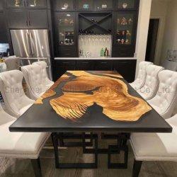 Madeira e mesa de café de resina epóxi com resina Tampo da mesa da sala de jantar