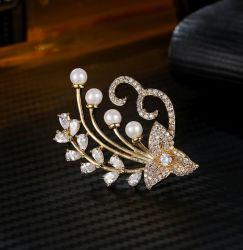 Bijoux en perle de la mode avec Shell &AAA Zircon cubique /or jaune blanc /Rose femmes Brooch Bijoux plaqué or