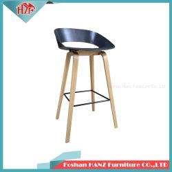 Proveedor de Foshan Restaurante de plástico de la Pierna de madera maciza de color azul muebles silla taburete de bar