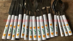 16ПК/24ПК пластмассовую ручку из нержавеющей стали Набор столовых приборов в упаковке коричневого цвета