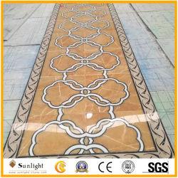 Мраморные камня прямоугольник Цветочный дизайн Waterjet медальон для украшения