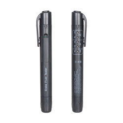 سائل الفرامل قلم اختبار سائل مع 5 أدوات سيارة مزودة بمؤشر LED للسيارة أدوات التشخيص جهاز اختبار سائل الفرامل الصغير لجهاز الشحن بدون محرك DOT3/DOT4
