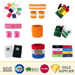 Prémio personalizado executando o logotipo bordado leve várias cores elásticos de absorver o suor Sarjado No-Slip Terrycotton listras Sport Sweatband toalha para o exterior