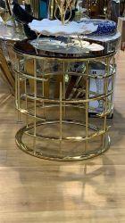 Mesa redonda final moderno de vidrio recubierto de polvo negro mesa de café