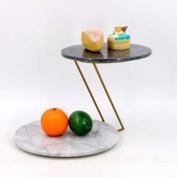 La Piedra Natural Cakestand doble de mármol de la placa de pastel de doble bandeja