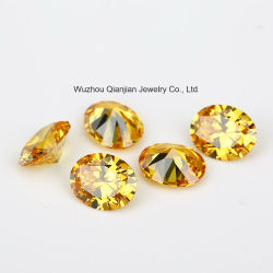 Bas prix Wuzhou coupe ovale de couleur jaune doré Circonia Pierres Cz cubes
