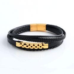 Usine de bijoux en acier inoxydable hommes Fashion Bracelet en cuir