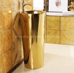 Villaのための贅沢なFloor Standing Sanitary Ceramics Round Circular Gold Color Pedestal Hand Wash Basin
