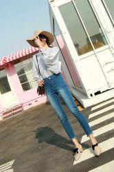 Best Selling Mulheres Denim Skinny Jeans de cintura elevada