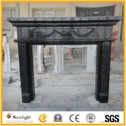 Geschnitzter schwarzer Marmorsteinkamin für Innen