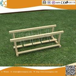 Jardín al aire libre para los niños de puente oscilante de madera