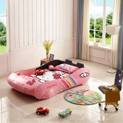Adorável Crianças Bed Creative Hello Kitty Design, Aluguer de cama, Cartoon Nap, cama de solteiro, cama de madeira de luxo