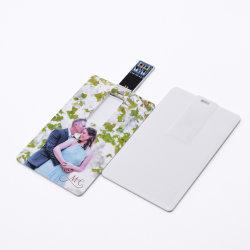 ロゴUSBのフラッシュカード32GB 64GBのバンクカードUSB 3.0のペン駆動機構薄いクレジットカード128GB Memoria USB駆動機構Uのディスクをカスタマイズしなさい(革包装と)