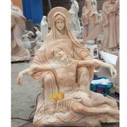 A China fez uma escultura de pedra mármore rosa Estátua esculpida a mão para a Igreja