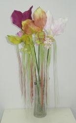 Bouquet de fleurs d'Orchidées Cymbidium artificielle avec queue colorés pour la décoration intérieure