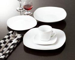 Elegante Blanco 20pcs Coupe de cerámica cuadrado cena