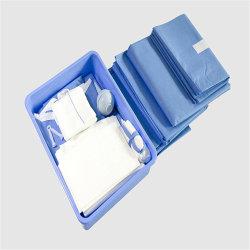 Livraison rapide de stériliser jetables fenêtrée césarienne Standard Surgical Kit drapé ensemble avec le trou pour l'hôpital