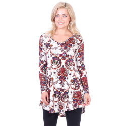 Женщин моды Управление печати Corset длинной втулки V-образный вырез горловины блуза
