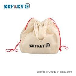 La Mousseline de Shopping personnalisé Portable réutilisables en toile de coton blanc coulisse sacs