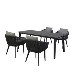 2019 elegantes muebles de exterior jardín sofá cuerda juego de comedor con estructura de aluminio para Patio