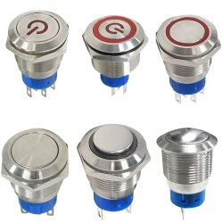 UL IP67 방수 전자식 LED 순간 누름 버튼 스위치 잠금 금속 누름 버튼 스위치