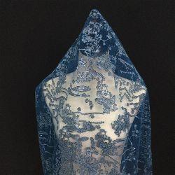 Diseño hermoso vestido de noche personalizada Sequin azul tejido de encaje bordado
