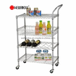 4 niveaux multifonction réglable sur le fil de métal chromé Rack panier Chariot de service de cuisine salle à manger avec la main