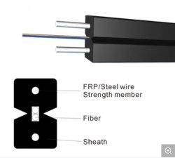 2ファイバーG657A1のFRPの強さメンバー、LSZHの蝶平らな屋内FTTH光ファイバケーブル