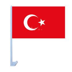 Vente chaude 12X18pouces Pays Turquie drapeau de voiture en polyester