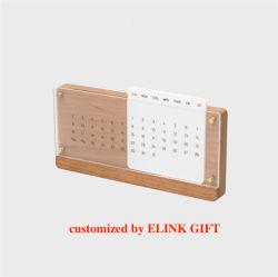 Décoration de bureau à domicile Tabletop Desktop Calendrier perpétuel en bois avec couvercle en plastique