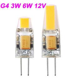 مصباح LED صغير G4 LED، مصباح COB، G4، 3 وات، 6 وات إضاءة LED خفيفة بجهد 12 فولت من التيار المتردد/المستمر قابلة للإضاءة بزاوية 360 درجة من أضواء الثريا استبدل مصابيح الهالوجين