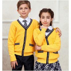 Commerce de gros de l'école Cardigan noir élégant uniforme scolaire des enfants unisexe/pull