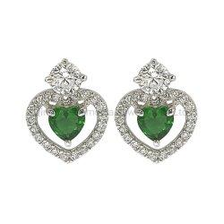 la CZ libera e verde di figura d'argento del cuore 925 invia l'orecchino