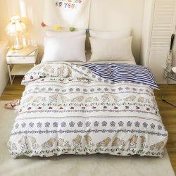 Literie pour bébés lapin bleu et blanc à rayures quatre Ensemble de pièces parure de lit 100 % coton