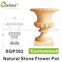 La pierre naturelle jaune/blanc/beige grès personnalisée en marbre/granit/jardin de fleurs et plante pot