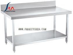 S/S таблицы с задней части Splash & под полкой стол из нержавеющей стали/Assembing рабочая таблица/кухонным столом/Workbench (трубы квадратного сечения)