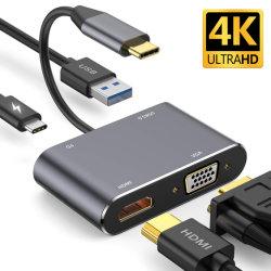 4-in-1 multi mozzo del USB C, USB-C/tipo C - Tipo-c mozzo di HDMI+VGA+USB3.0+Pd (femmina di USB-C)