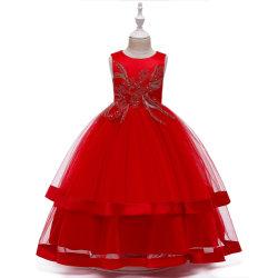 Abito da sera tulle Princess con lunghezza da pavimento ricamato in pizzo floreale, bambini Festa di nozze serata formale Pageant ballo abito Esg13537