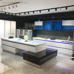 Armário de cozinha de estilo moderno com bancada corpo sólidos de madeira e pedra brilhante de alta qualidade