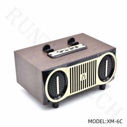 Xm-6c Stero son portable sans fil haut-parleur Bluetooth en bois avec station d'accueil téléphonique