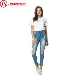 L'alta qualità nuova di vendita calda di modo di marea ha tagliuzzato le signore che sottili elastiche i jeans hanno stampato i pantaloni scarni del denim delle donne