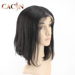 Parte superiore del merletto del Bob di Short dei capelli del picco di vedove mono della parrucca diritta crespa sintetica arancione della parte anteriore