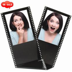 """Tira de película de acrílico negro tamaño billetera permanente el marco de fotos, tiene dos de 2,5"""" x 3.5"""" Fotos"""