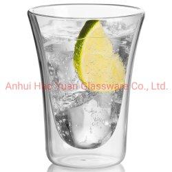 Kundenspezifisches handgemachtes doppel-wandiges trinkendes Glas-Cup-Kaffeetasse-Set