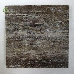Il travertino di argento scuro T99 tagliato per graduare le mattonelle secondo la misura ha lucidato