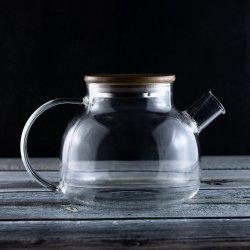 Nova concepção de novos produtos 950ml de vidro de parede simples bule de chá com tampa de madeira (W12588)