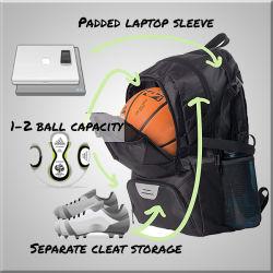 Fußball-Beutel, Sport-Rucksack Baseketball Beutel, Fußball-Beutel mit Laptop-Hülse und Schuh-Fach für Kinder, Jugendlichen, Kursteilnehmer, Erwachsenen und Verein