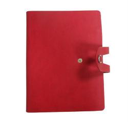 革製ノートブックバインダー 3 リングバインダープランナーボタン付きカスタマイズページ ペンループで閉じる