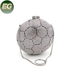 Leb1393サッカーボールの水晶は花嫁のプロムの光沢がある女性のフットボールの財布と結婚するラインストーン袋のクラッチの夕方のハンドバッグをすぼめる